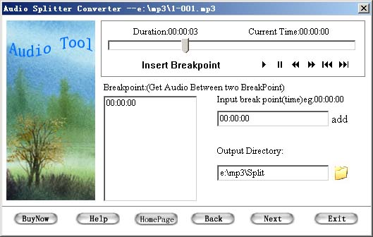 Audio Splitter Convertor Tool screenshot